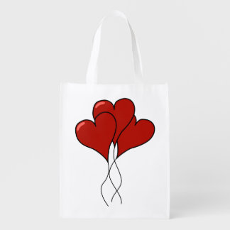 Heart Balloons Grocery Bag