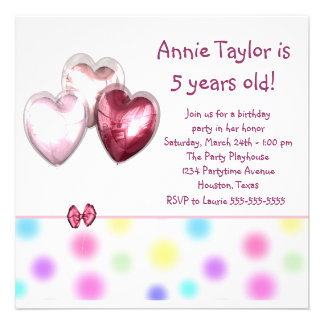 Heart Balloons Pink Girls 5th Birthday Party Custom Announcement