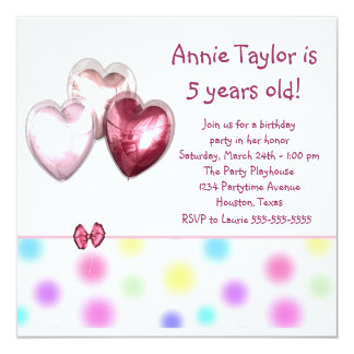 "Heart Balloons Pink Girls 5th Birthday Party 5.25"" Square Invitation Card"