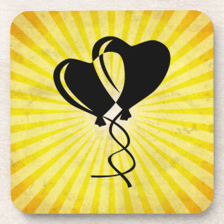 Heart Balloons; yellow Beverage Coasters