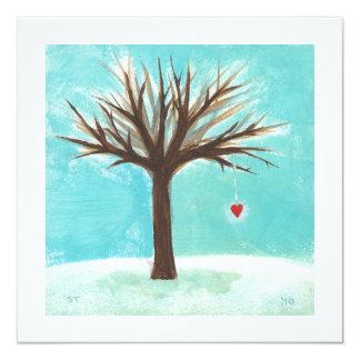"""Heart bare tree sweet primitive Winter scene art 5.25"""" Square Invitation Card"""