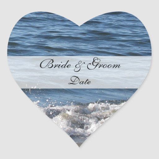 Heart Beach Theme Save the Date Stickers