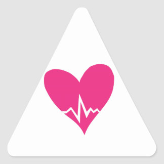 Heart Beat Triangle Stickers