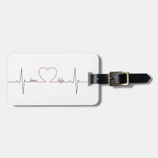 Heart beat with love life inspirational quote bag tag