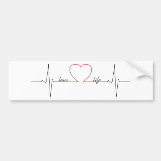 Heart beat with love life inspirational quote bumper sticker