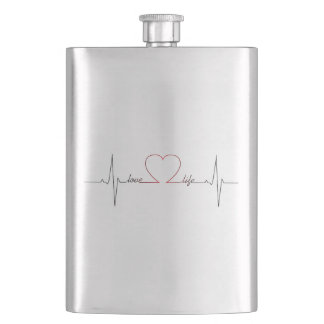 Heart beat with love life inspirational quote flasks