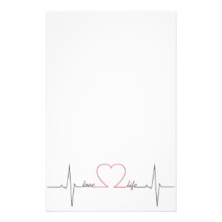 Heart beat with love life inspirational quote personalised stationery