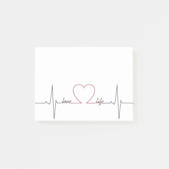 Heart beat with love life inspirational quote post-it