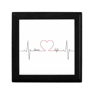 Heart beat with love life inspirational quote small square gift box