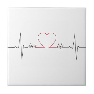 Heart beat with love life inspirational quote small square tile