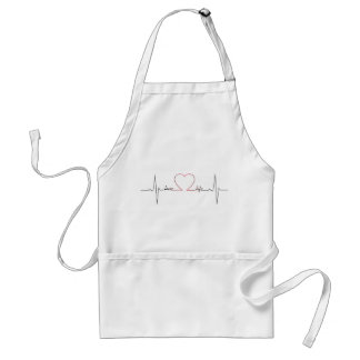 Heart beat with love life inspirational quote standard apron