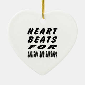 Heart Beats For Antigua and Barbuda Double-Sided Heart Ceramic Christmas Ornament