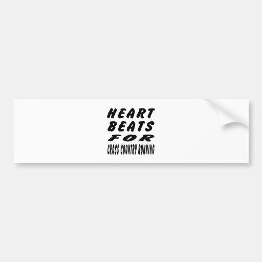 Heart Beats For Cross Country Running Bumper Stickers