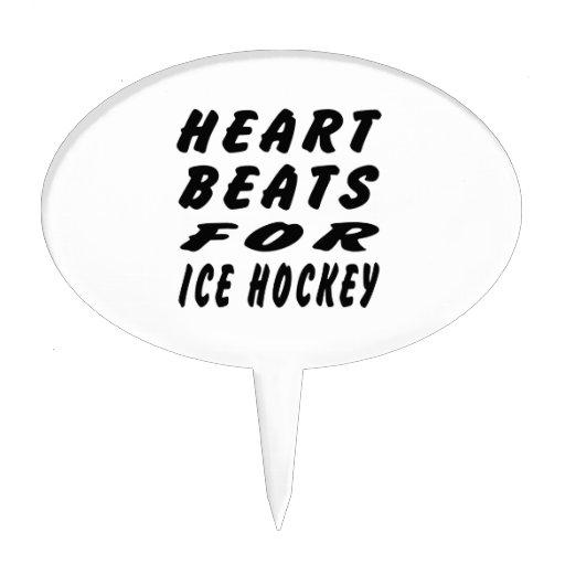 Heart Beats For Ice Hockey Cake Topper