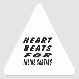 Heart Beats For Inline Skating Triangle Stickers