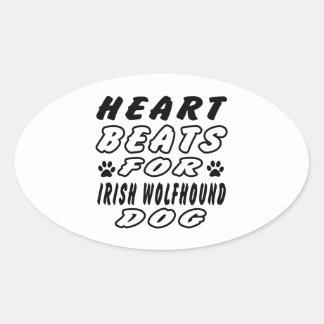 Heart Beats For Irish Wolfhound. Oval Sticker