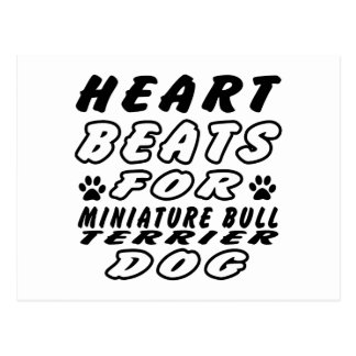 Heart Beats For Miniature Bull Terrier Postcard