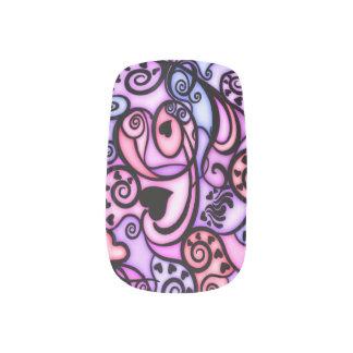 Heart beats singing minx nail art