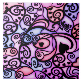 Heart Beats Singing, Stained Glass style Large Square Tile