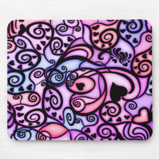 Heart Beats Singing, Stained Glass style Mouse Mat