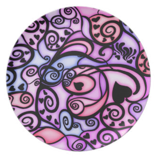 Heart Beats Singing, Stained Glass style Plate