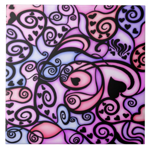Heart Beats Singing, Stained Glass style Ceramic Tiles