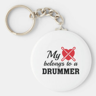 Heart Belongs Drummer Basic Round Button Key Ring