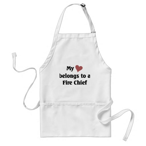 Heart belongs to a fire chief aprons