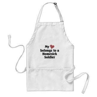 Heart belongs to a homesick soldier standard apron