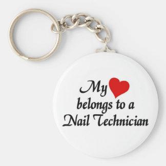 Heart belongs to a nail technician basic round button key ring