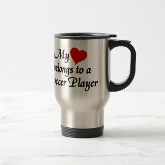 Heart belongs to a Soccer Player Stainless Steel Travel Mug