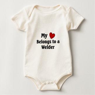Heart belongs to a welder baby bodysuit