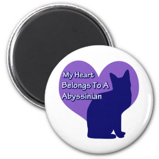 Heart Belongs to an Abyssinian 6 Cm Round Magnet