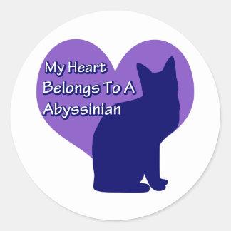 Heart Belongs to an Abyssinian Round Sticker