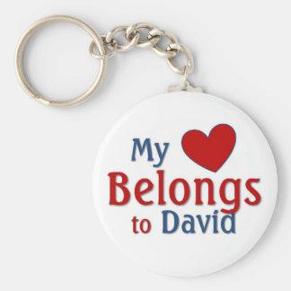 Heart belongs to david basic round button key ring