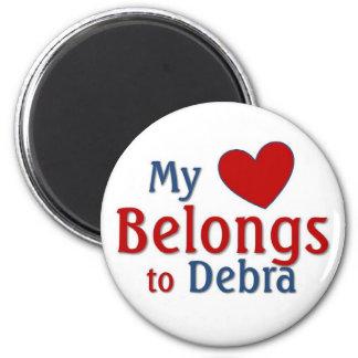 Heart belongs to Debra 6 Cm Round Magnet