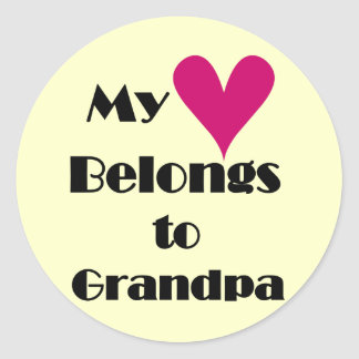 Heart Belongs to Grandpa Tshirts and Gifts Round Sticker