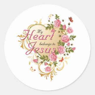 Heart belongs to Jesus Round Sticker