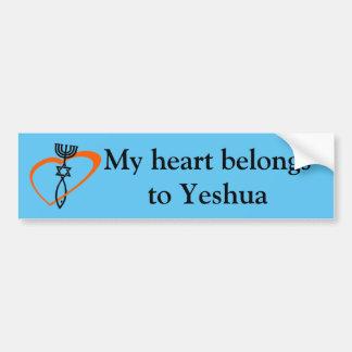 Heart belongs to Yeshua bumper sticker