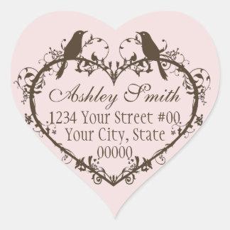 Heart & Birds Address Sticker
