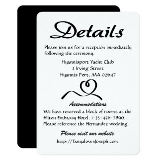 Heart Black And White Details / Directions Wedding 11 Cm X 16 Cm Invitation Card