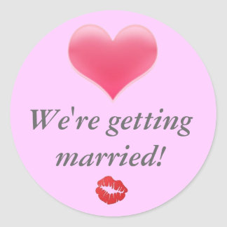 heart-blending, images, We're getting married! Round Sticker