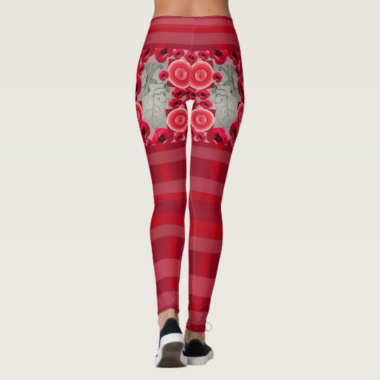 Heart Blood Red Leggings with Heart and Poppies