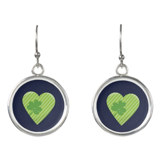 Heart Blue and Green St Patricks Holiday Earrings