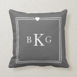 Heart Border Custom Monogram Dark Grey Pillows