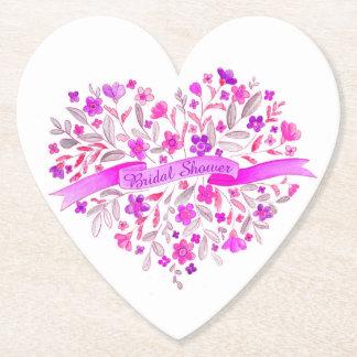 Heart bouquet art bridal shower paper coasters