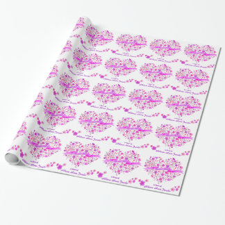 Heart bouquet custom bridal shower gift wrap wrapping paper