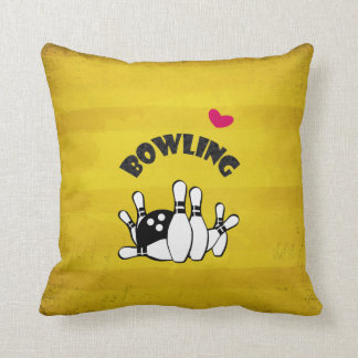Heart Bowling -  B&W Bowling Pins and Ball Throw Pillow