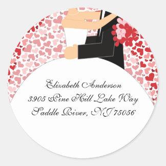 Heart Bride & Groom Address Sticker pink & red