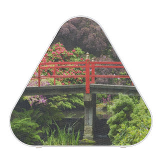 Heart Bridge with blossoming rhododendrons,